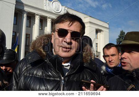Former President of Georgia and leader of Ukrainian opposition Mikheil Saakashvili keeping speech during anti-corruption meeting near parliament of Ukraine.  Kiev,Ukraine.October 25, 2017