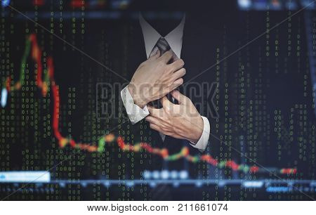 Double exposure businessman, with stock exchange graph. Development and growth in stock market and business investment concept