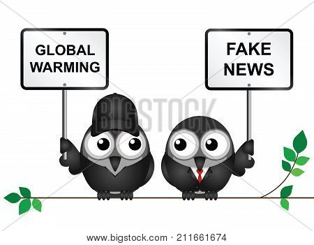 Protestor demonstrating against global warming and a fake news denialist