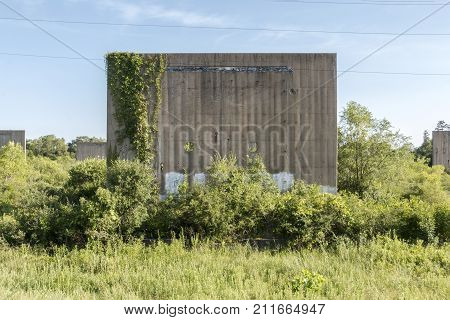 ROSEMOUNT MN/USA - JULY 26 2016 - One of several blast walls located at the Gopher Ordnance Works a WW II-era munitions plant in Rosemount. Photo taken July 26 2016.