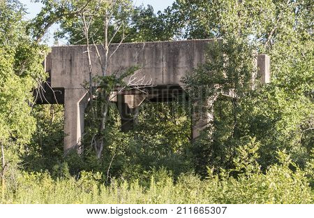 ROSEMOUNT MN/USA - JULY 26 2016 - Old ruins located at the Gopher Ordnance Works a WW II-era munitions plant in Rosemount. Photo taken July 26 2016.
