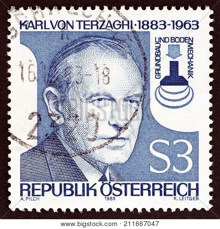 AUSTRIA - CIRCA 1983: A stamp printed in Austria issued for the birth centenary of Karl von Terzaghi (soil mechanics and foundations engineer) shows Karl von Terzaghi, circa 1983.