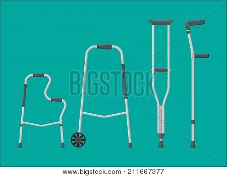 Set of mobility aids. Walker, crutches, quad cane, forearm crutches. Goods for disabled people. Healthcare, hospital and medical diagnostics. Vector illustration in flat style