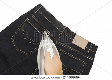 Ironing facilities clubs a pair of jeans on a white background