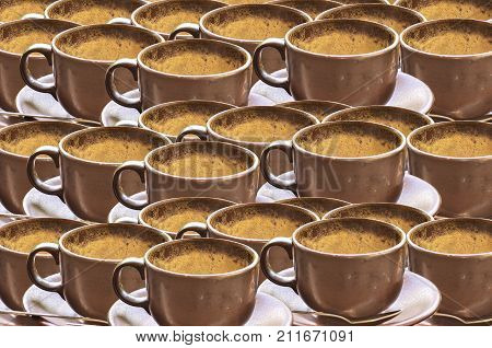 Coffee Cup With Froth After Drink Background