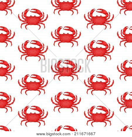 Seamless pattern with flat red crab isolated on white background - vector illustration. Sea water animal icon with claws. Seafood product design.