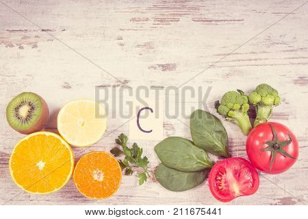 Vintage Photo, Fruits And Vegetables Containing Vitamin C, Fiber And Minerals, Strengthening Immunit