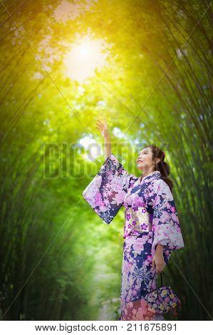 japanese woman in traditional kimono enjoy walking in the bamboo garden.