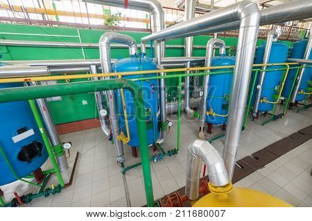 A modern boiler room. Water filtration shop. The housings of industrial filters are painted in blue.