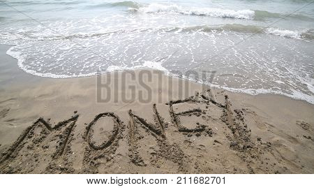 Text Money On The Sand And Wave That Is Erasing The Word Symbol
