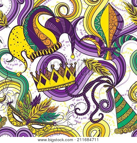 Mardi Gras seamless pattern. Colorful background with carnival mask and hats, jester hat, crowns, fleur de lis, feathers and ribbons.