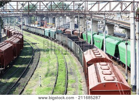 View of freight wagons on sunny day