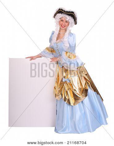 Woman in costume marquise and wig with empty card