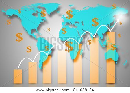 Double exposure with world map with downward bar graph from business and financial concept. Elements of this image furnished by NASA.