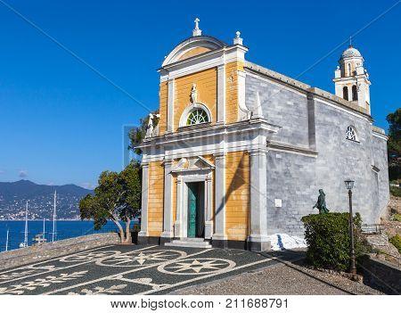 PORTOFINO, ITALY. October 20, 2017: Church of San Giorgio (Portofino). The church of San Giorgio is a Catholic worship site in Portofino, located on the San Giorgio slope.
