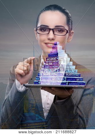 Businesswoman holding pyramid in business concept