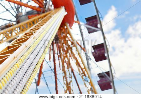 Observation wheel in amusement park