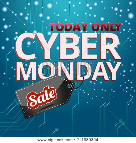 Design cyber Monday, the inscription with a tag sale on a snowy background, vector graphics for the site