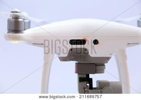 Sensors of white drone close-up. Sensors on drone.