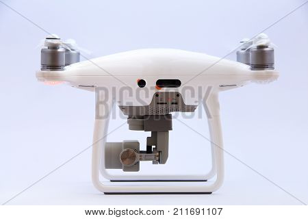 Side view of drone isolated on white background.Smart drone side view.