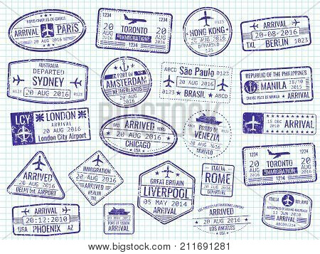 International visa stamps on notebook page - arrival, departure, immigration passport stamps. Vector illustration