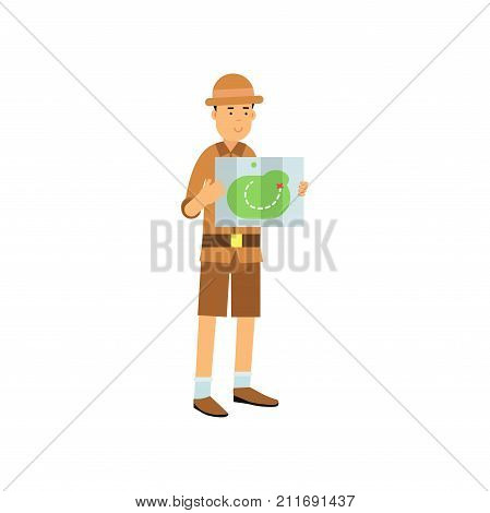 Cartoon young archaeologist character studying the map. Treasure hunter in safari suit and hat. Search of ancient artifacts. Excavations and archaeology. Flat vector illustration isolated on white