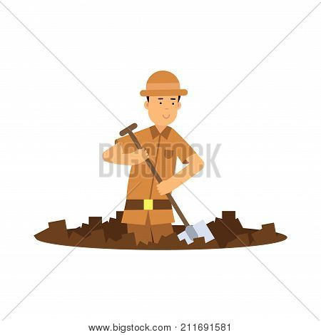 Boy cartoon young archaeologist character digging pit with shovel. Treasure hunter in brown safari suit and hat. Search of ancient artifacts. Excavations and archaeology. Flat vector isolated on white