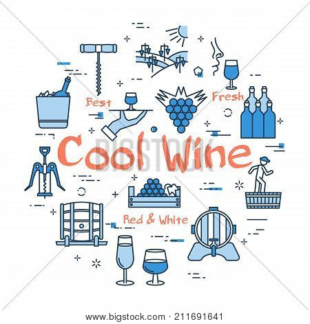 Vector linear blue round concept of Cool Wine . Thin line icons of bottles, viticulture, winemaking process and storage of products