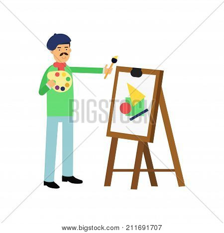 Flat bohemian artist at work. Man painting on the canvas. Talented painter colorful character. Artistic element for card or banner design. Creative person. Vector illustration isolated on white.