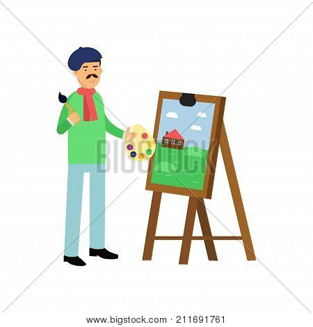 Flat artist standing near easel with canvas, holding brush and palette in hands. Talented painter colorful character. Artistic element for bohemian people. Creative person. Vector isolated on white.