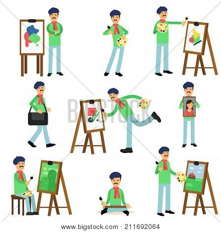 Flat profession artist painting on canvas set. Talented painter colorful character. Artistic elements, paint and palette, brushes, canvas, easel. Creative person equipment. Vector isolated on white.