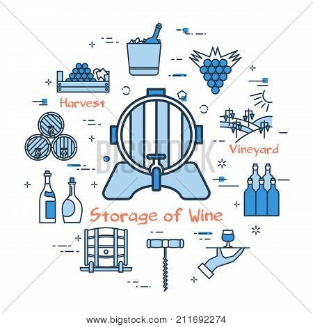Vector linear blue round concept of Storage of Wine. Barrel for wine with a tap in the center. Line icons of viticulture and wine production