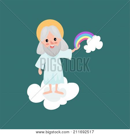 Creator cartoon character in action on white cloud. Smiling god creating a rainbow. Heaven working days. Almighty bearded man. The Divine Being. Vector illustration for book, card, poster or badge.