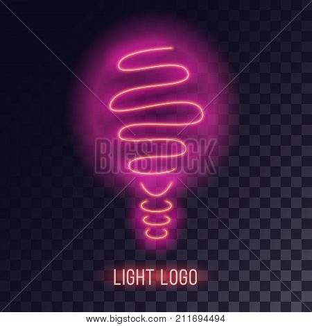 Pinkish neon bulb design. Realistic retro light effect. Glowing cyberpunk decorative logo element.