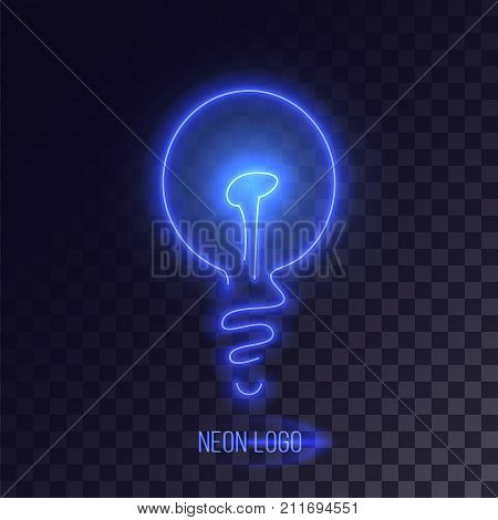 Blue neon lightbulb logo with decorative design. Realistic cyberpunk design.