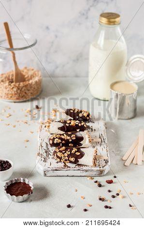 Ice Cream Coated With Chocolate