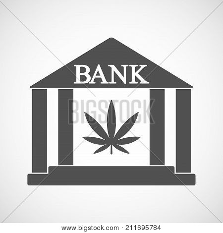 Isolated Bank Icon With A Marijuana Leaf