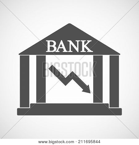 Isolated Bank Icon With A Descending Graph