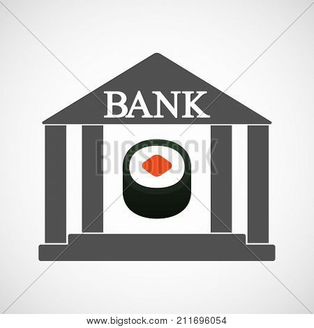 Isolated Bank Icon With A Piece Of Sushi Maki