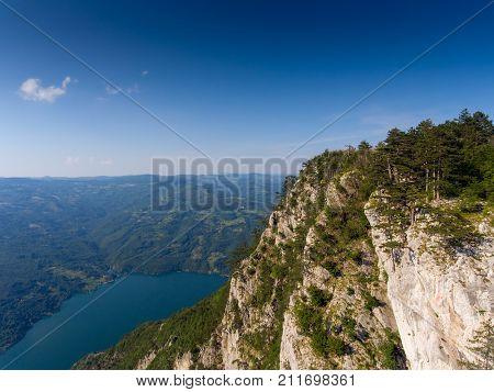 Aerial view on famous Banjska stena on Drina river in Tara National Park, Serbia