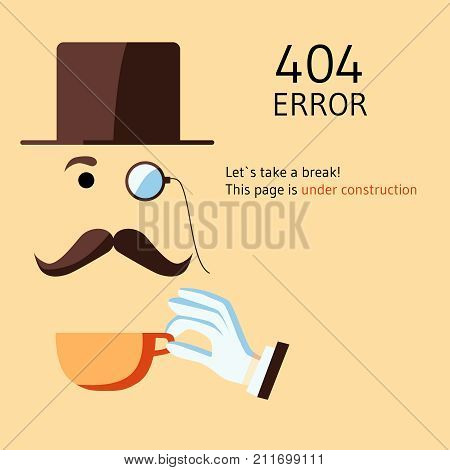 Page with 404 error in cartoon style. A retro man with monocular reports a problem. The template reports that the page was not found