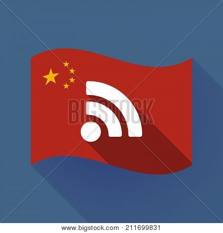 Long Shadow China Flag With An Rss Sign