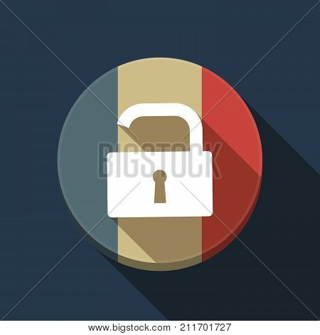Long Shadow France Flag With An Open Lock Pad