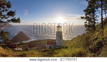 Heceta Head Lighthouse at sunset panorama, Pacific coast, built in 1892, Oregon USA