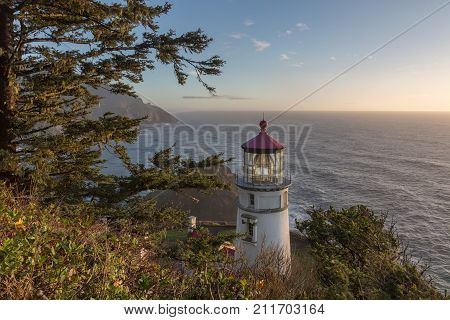 Heceta Head Lighthouse at sunset, Pacific coast, built in 1892, Oregon USA