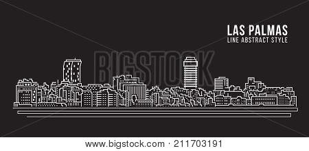 Cityscape Building Line art Vector Illustration design - Las Palmas city