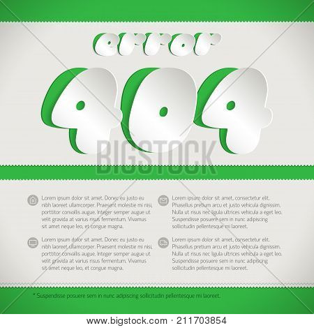 Vector illustration for message page is lost and not found with words error 404 cut from white paper on green background