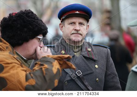 Belarus, Gomel, November 21, 2016, Reconstruction Of The Battle Of The Second World War. Soldat Of T