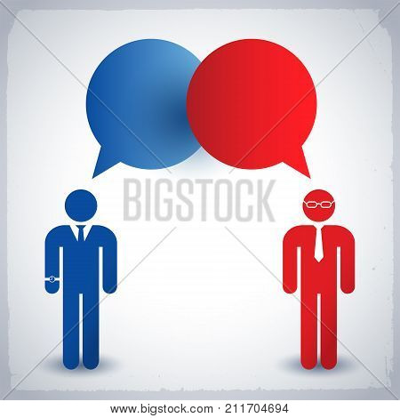 Business people wearing dresscode talking to each other concept in blue and red colors flat vector illustration