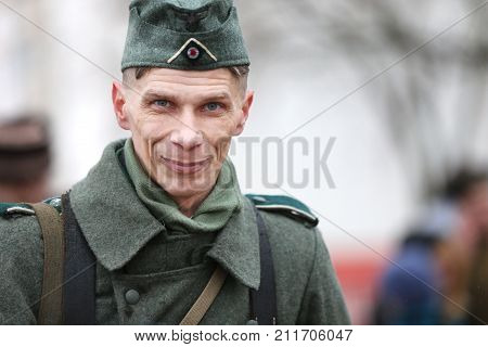 Belarus, Gomel, November 21, 2016, Reconstruction Of The Battle Of The Second World War. German Sold